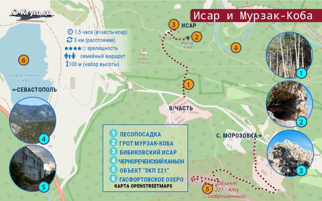 Карта маршрута. Исар и Мурзак-Коба