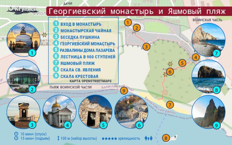 Георгиевский монастырь и Яшмовый пляж. Карта маршрута