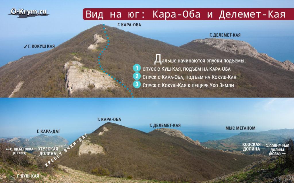 Вид на юг: Кара-Оба и Делемет-Кая