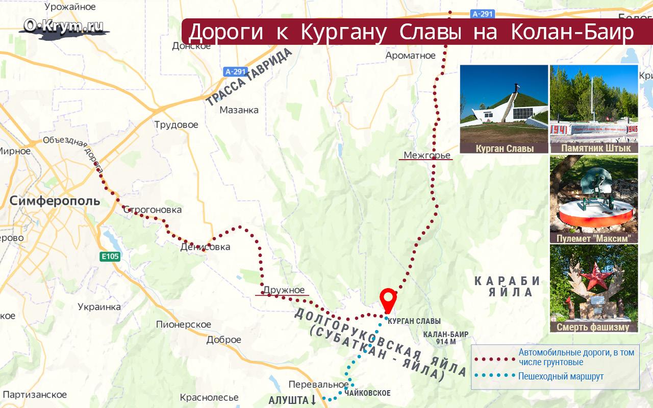 Дороги к Кургану Славы на Колан-Баир