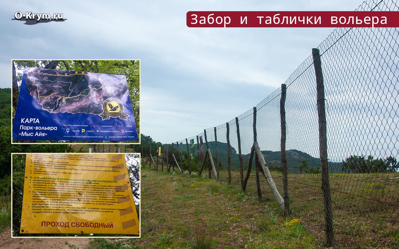 Забор и таблички вольера